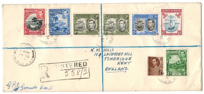 GRENADA - 1947 multi franked registered cover to UK with 10/- (SG 163d) used at GPO/GRENADA.
