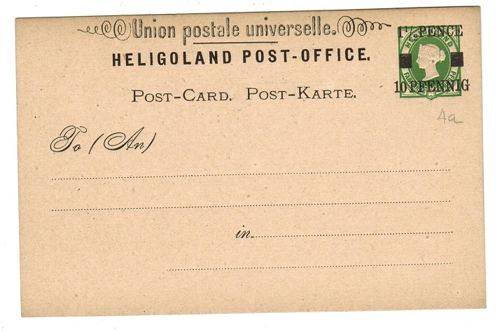 HELIGOLAND - 1879 1 1/2p/10pfg black on green PSC unused.  H&G 4.