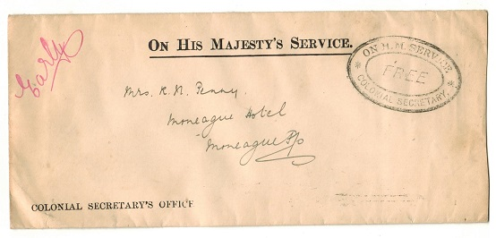 JAMAICA - 1914 OHMS cover struck FREE/COLONIAL SECRETARY used at MONEAGUE.