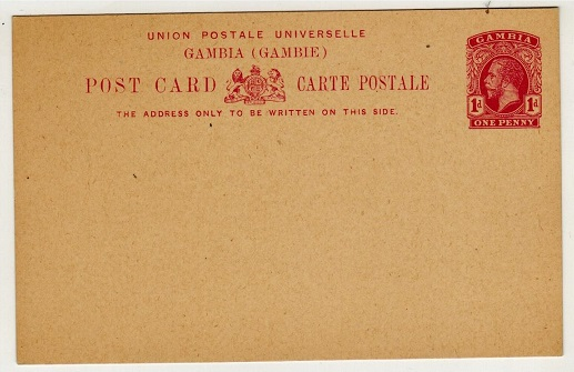GAMBIA - 1912 1d deep rose PSC unused.  H&G 9.