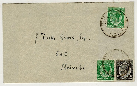K.U.T. - 1935 20c rate local cover used at BUNGOMA.