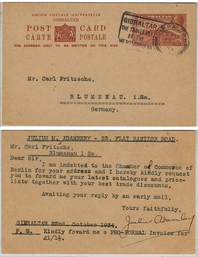 GIBRALTAR - 1934 1 1/2d brown PSC to Germany.  H&G 31.