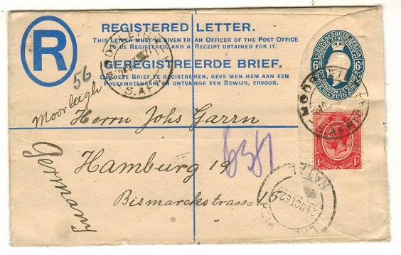 SOUTH AFRICA - 1921 6d blue RPSE uprated to Germany used at MOORLEIGH.  H&G 5a.