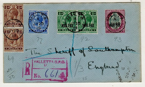 MALTA - 1918 registered cover with 1/2d (x2) and 3d