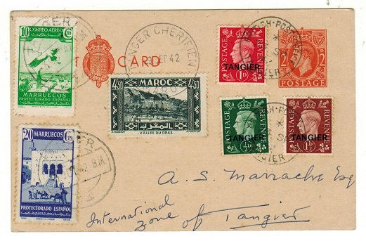 MOROCCO AGENCIES - 1942 philatelic use of GB 2d PSC used at GB, French and Spanish offices.