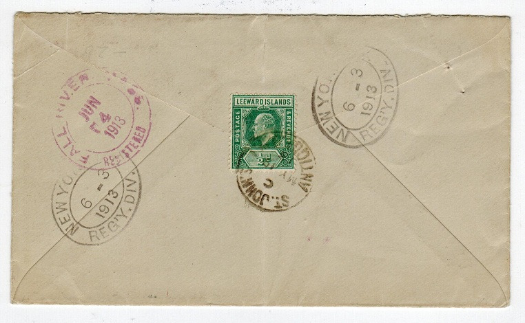 ANTIGUA - 1913 registered cover to UK at 6 1/2d rate from ST.JOHN