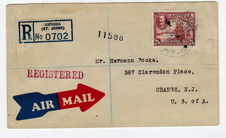 ANTIGUA - 1932 reg cover to USA with
