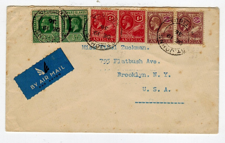 ANTIGUA - 1936 cover to USA with mixed franking from ST.JOHNS.