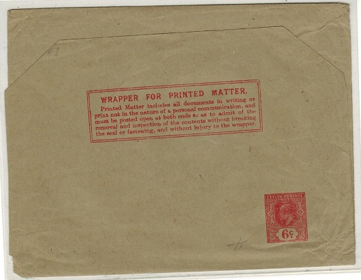 CEYLON - 1903 6c red postal stationery wrapper unused.  H&G 7.