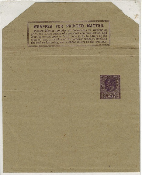 CEYLON - 1903 2c violet postal stationery wrapper unused.  H&G 5.