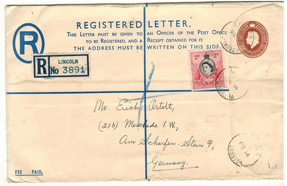 JAMAICA - 1953 4d+2d orange brown RPSE (Size H) addressed to Germany used at LINCOLN.  H&G 10a.