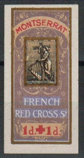 MONTSERRAT - 1916-17 1d+1d FRENCH RED CROSS charity label.