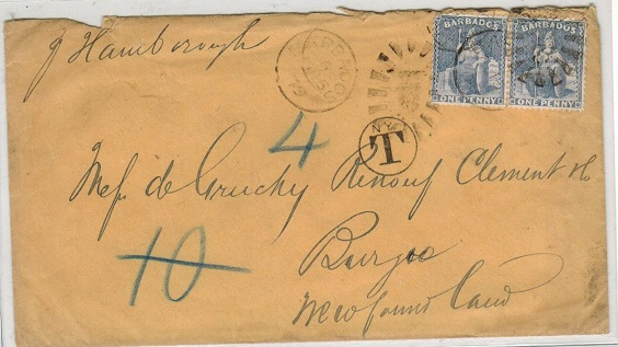 BARBADOS - 1879 2d rate cover to Newfoundland taxed on-route in New York.