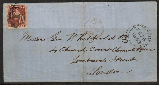 BARBADOS - 1863 6d rate outer wrapper to UK cancelled by