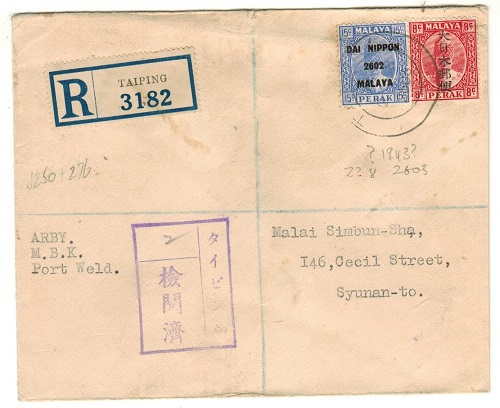MALAYA (Perak) - 1943 Japanese Occupation cover registered to Singapore from TAIPING.