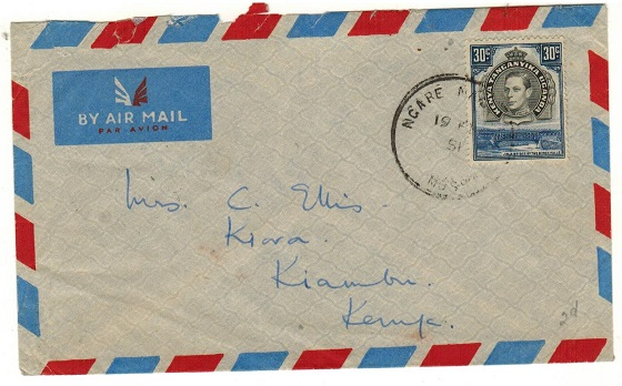 K.U.T. - 1951 30c rate local cover used at NGARE NAIROBI/MOSHI.