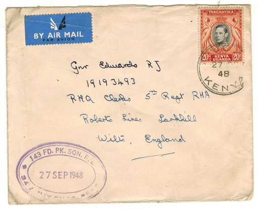 K.U.T. - 1948 20c rate military cover used at VOI.
