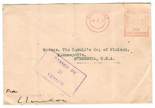 SINGAPORE - 1939 0.12c red meter mark censored cover to USA.