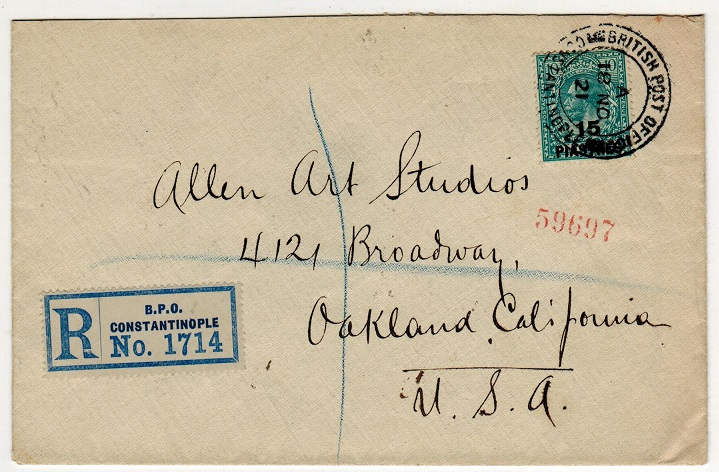 BRITISH LEVANT - 1921 15p on 10d registered cover to USA used at CONSTANTINOPLE.