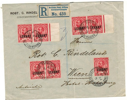 BRITISH LEVANT - 1913 6 1/2d rate registered cover to Austria used at CONSTANTINOPLE.