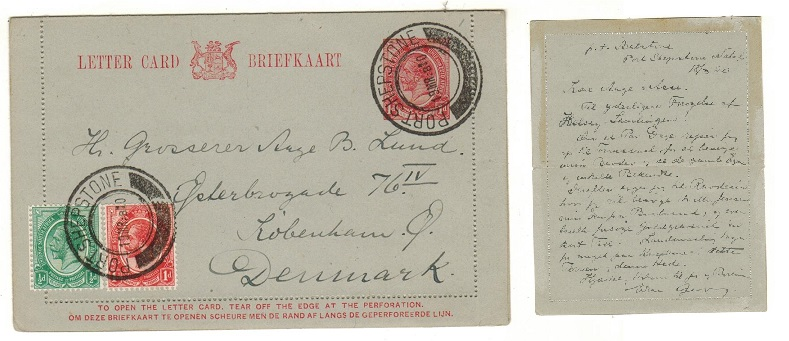 SOUTH AFRICA - 1913 1d red stationery letter card to Denmark uprated at PORT SHEPSTONE.  H&G 1.