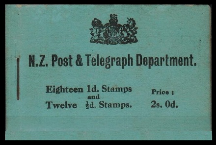 NEW ZEALAND - 1915 2/- BOOKLET (incomplete) printed with BLUE COVER.  SG SB8b.