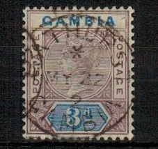 GAMBIA - 1902 3d deep purple and ultramarine shade from Plate 3 fine used.  SG 41b.