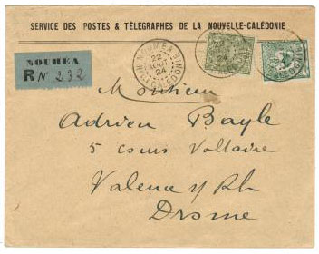 NEW CALEDONIA - 1924 stamped SERVICE cover.