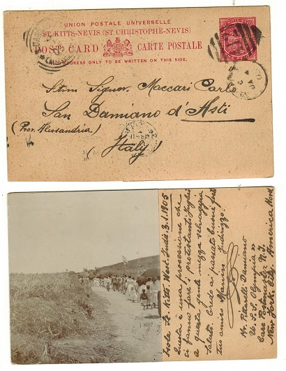 ST.KITTS - 1904 1d carmine PSC to Italy.  H&G 2.