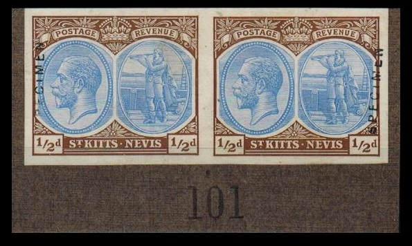 ST.KITTS - 1920 1/2d IMPERFORATE PRINTERS SAMPLE PROOF pair on piece handstamped SPECIMEN.