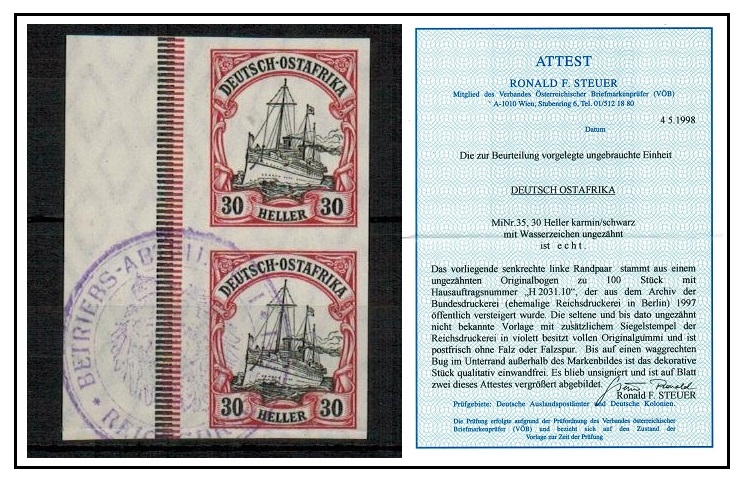 BRITISH EAST AFRICA (German Colonies) - 1909 30h IMPERFORATE PLATE PROOF pair.  SG 39.