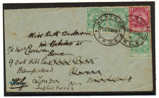 CAPE OF GOOD HOPE - 1900 2 1/2d rate cover to UK used at WESTERN/T.P.O.6.