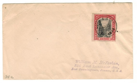 BAHAMAS - 1927 1d rate cover to USA used at THE BIGHT.