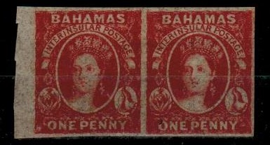 BAHAMAS - 1859-60 1d dull lake IMPERFORATE pair on unwatermarked paper.  SG 2.