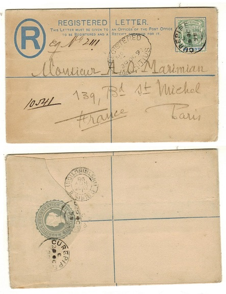 MAURITIUS - 1891 12c dull ultramarine RPSE uprated to France used at CUREPIPE.  H&G 2a.