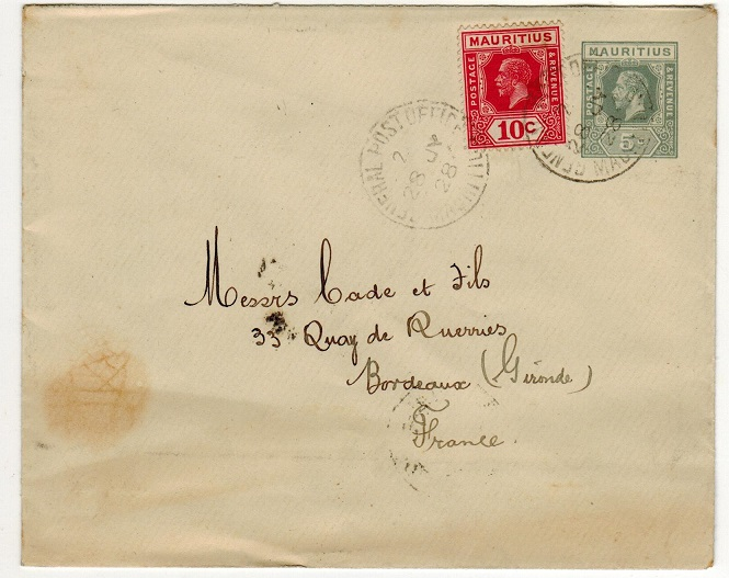 MAURITIUS - 1925 5c grey PSE uprated to France. H&G 41.