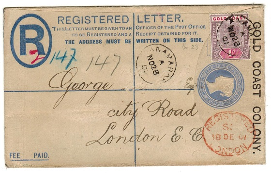 GOLD COAST - 1894 2d ultramarine RPSE uprated to UK used at ANAMABOE.  H&G 5.