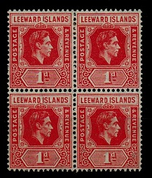 LEEWARD ISLANDS - 1948 1d red mint block of four with DI FLAW.  SG 99ca.