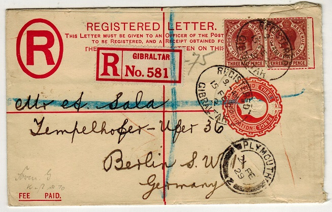 GIBRALTAR - 1927 3d red RPSE uprated to Germany.  H&G 14a.