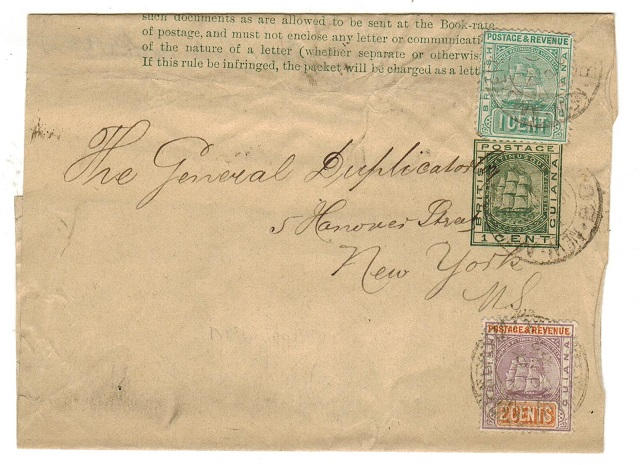 BRITISH GUIANA - 1884 1c green stationery wrapper uprated to USA.  H&G 1.