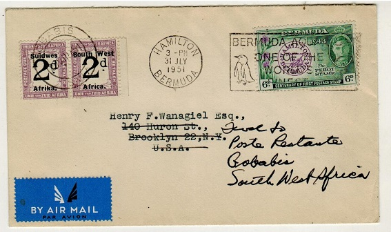 SOUTH WEST AFRICA - 1951 inward underpaid cover from Bermuda with 2d