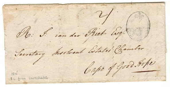 CAPE OF GOOD HOPE - 1815  2/- rate cover to Cape with POST OFFICE h/s sent from CONTERBERG.