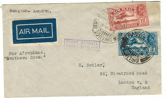 BURMA - 1931 first flight cover to UK.