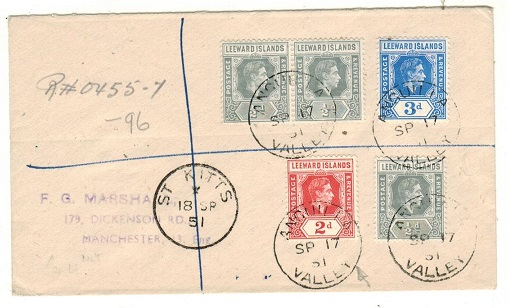 ANGUILLA - 1951 registered cover to UK with Leeward Is adhesives used at ANGUILLA VALLEY.