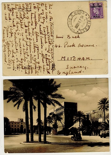 BR.OCC.OF ITALIAN COLS (Tripolitania) - 1951 6m rate postcard to UK used at TRIPOLI.