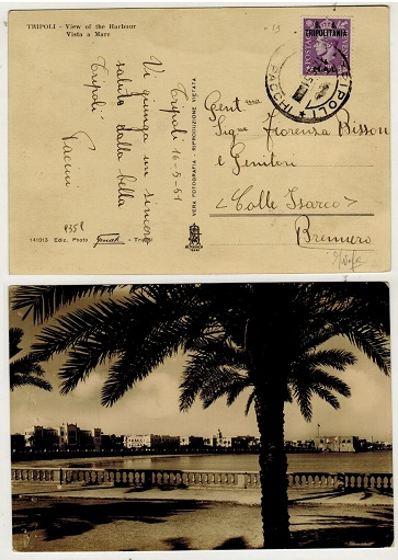 BR.OCC.OF ITALIAN COLS (Tripolitania) - 1951 6m rate postcard to Italy used at TRIPOLI.