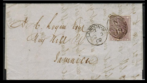 JAMAICA - 1862 inward 6d rate entire from UK.