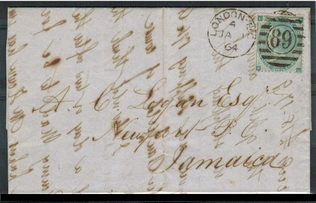 JAMAICA - 1864 inward 1/- rate entire from UK.
