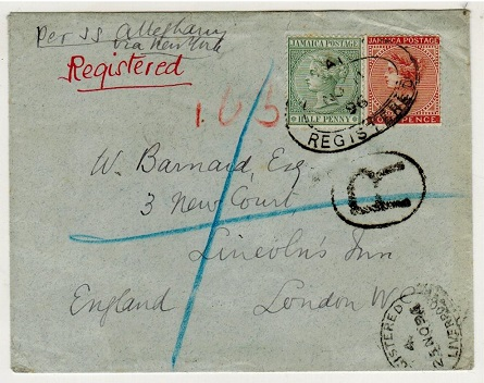JAMAICA - 1896 4 1/2d rate registered cover to UK.