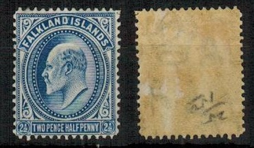 FALKLAND ISLANDS - 1912 2 1/2d deep blue mint.  SG 46b.